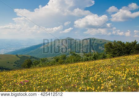 Panoramic View From Valsorda Mountain In Umbria During Spring Day