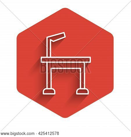 White Line Pet Grooming Table Icon Isolated With Long Shadow. Red Hexagon Button. Vector