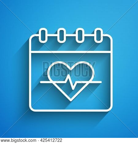 White Line Heart Rate Icon Isolated On Blue Background. Heartbeat Sign. Heart Pulse Icon. Cardiogram