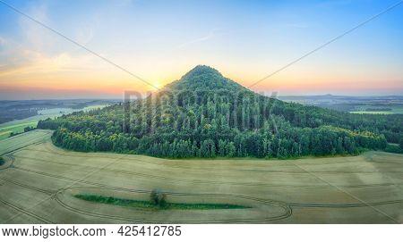 Aerial View Of Ostrzyca Proboszczowska - Extinct Volcano, Or Rather A Volcanic Chimney Located In Lo