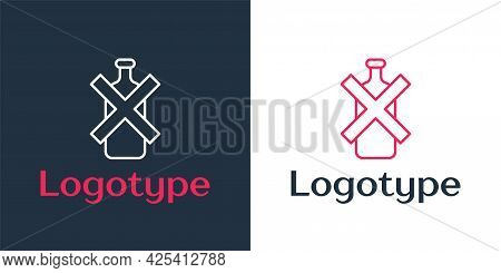 Logotype Line No Alcohol Icon Isolated On White Background. Prohibiting Alcohol Beverages. Forbidden