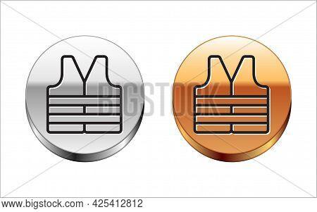 Black Line Life Jacket Icon Isolated On White Background. Life Vest Icon. Extreme Sport. Sport Equip