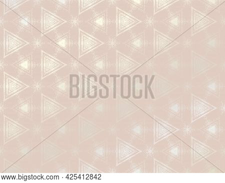 Abstract Peach Pink And Silver Textured Pattern With Kaleidoscope Effect. Vector Illustration. Symme