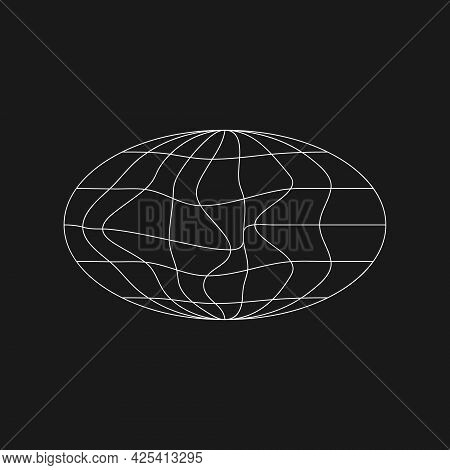Cyber Retrofuturistic Ellipse Planet Shape With Liquid, Glitch Effect. Trendy Cyber Element. Ellipse