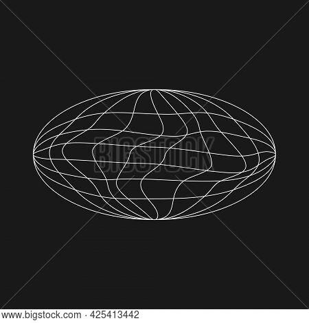 Wireframe Ellipse Planet In Old Cyberpunk Style With Liquid Glitch Effect. Retrofuturistic Design El
