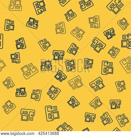 Blue Line Computer Monitor With Keyboard And Mouse Icon Isolated Seamless Pattern On Yellow Backgrou