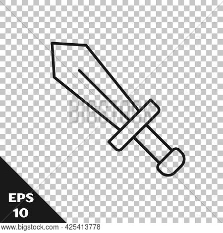 Black Line Sword For Game Icon Isolated On Transparent Background. Vector