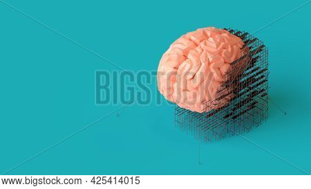 3d Illustration Of Low Poly Human Brain Repair Or Treatment Concept. Isometric 3d Render Of Brain Wi