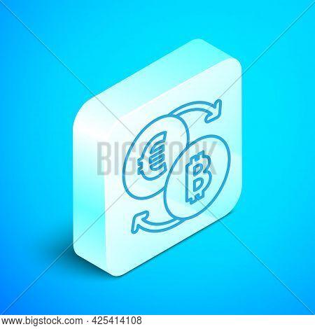Isometric Line Cryptocurrency Exchange Icon Isolated On Blue Background. Bitcoin To Euro Exchange Ic