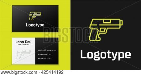 Logotype Line Pistol Or Gun Icon Isolated On Black Background. Police Or Military Handgun. Small Fir
