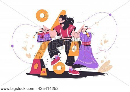 Happy Shopaholic Attractive Woman Buying Clothes At Market. Isolated Concept Smiling Female Characte