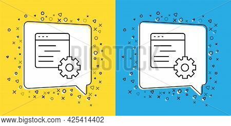 Set Line Computer Api Interface Icon Isolated On Yellow And Blue Background. Application Programming