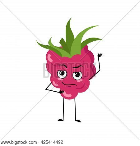 Cute Raspberry Character With Emotions, Face, Arms And Legs. The Funny Or Proud, Domineering Sweet F