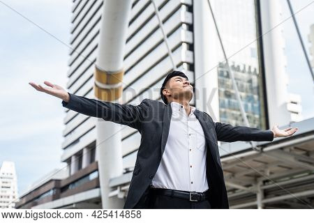 Asian Young Businessman Feeling Happy After He Knew The Result Of Interview Test For Job Application