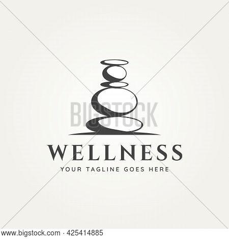 Wellness Balancing Stone Logo Vector Illustration Design. Spa, Health, And Beauty Logo Concept