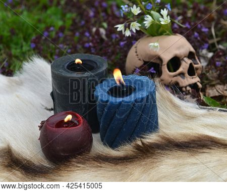 Beltane Ritual With Burning Candles And Skull With Flowers Outside. Esoteric, Gothic And Occult Back