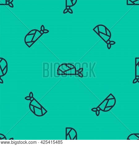 Blue Line Pirate Bandana For Head Icon Isolated Seamless Pattern On Green Background. Vector