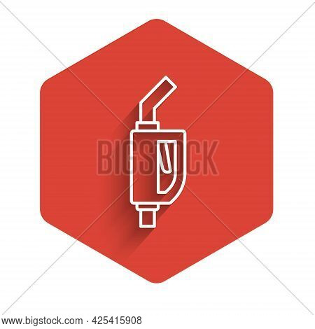 White Line Gasoline Pump Nozzle Icon Isolated With Long Shadow Background. Fuel Pump Petrol Station.