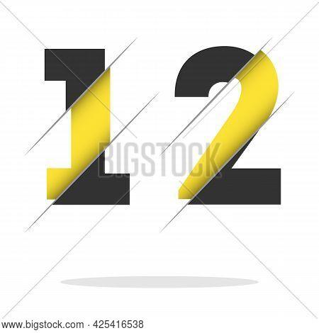Number Twelve. Anniversary Logo Paper Cut Letter And Elegance Golden Color Isolated On Black Backgro