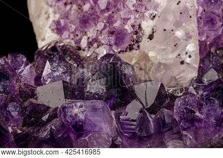 Macro Mineral Amethyst Stone With Calcite Black Background Close-up