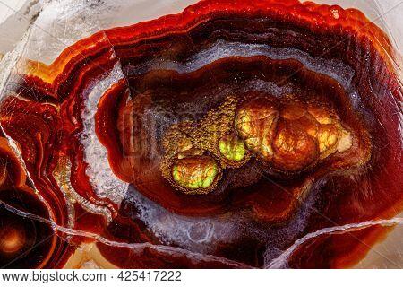 Macro Mineral Stone Fire Agate On A Black Background Close Up