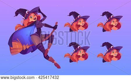 Witch Flying On Broom, Beautiful Redhead Woman In Spooky Hat With Different Face Expression Cartoon