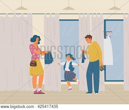 Parents With Daughter Choosing School Uniform In Clothes Store. Happy Girl Trying On New School Form