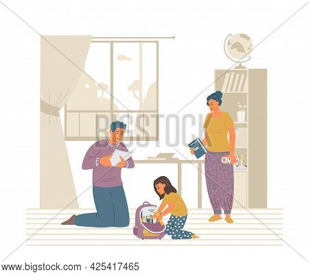 Parents Helping Daughter To Pack Schoolbag. Primary School Girl Getting Ready For School. Flat Vecto