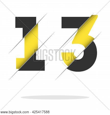 13 1 3 Number Logo Design With A Creative Cut And Black Circle Background. Creative Logo Design.