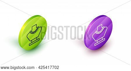 Isometric Line Necklace On Mannequin Icon Isolated On White Background. Green And Purple Circle Butt