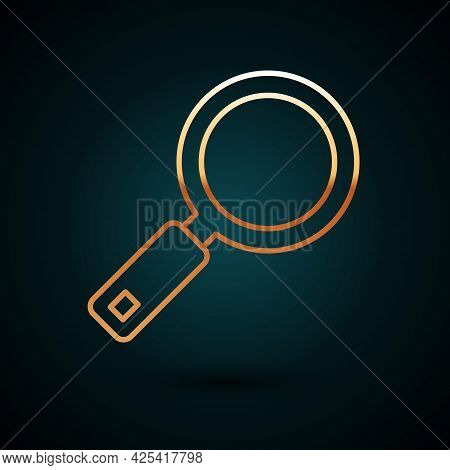 Gold Line Magnifying Glass Icon Isolated On Dark Blue Background. Search, Focus, Zoom, Business Symb
