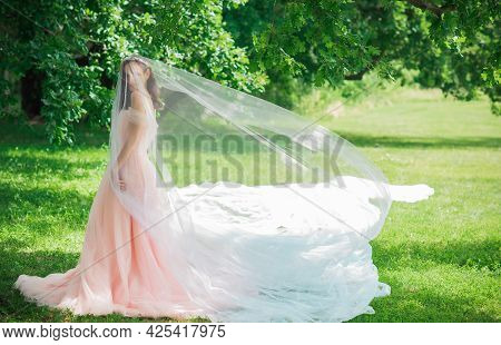 Tender Elegant Young Bride In Pink Pastel Wedding Dress, Fashionable Fancy Collection