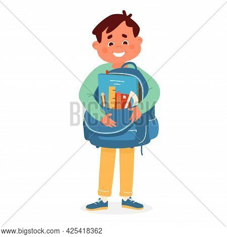 Vector Cute Smiling Boy Holding School Bag With Supplies  First Grader Preparing To School.vector Il