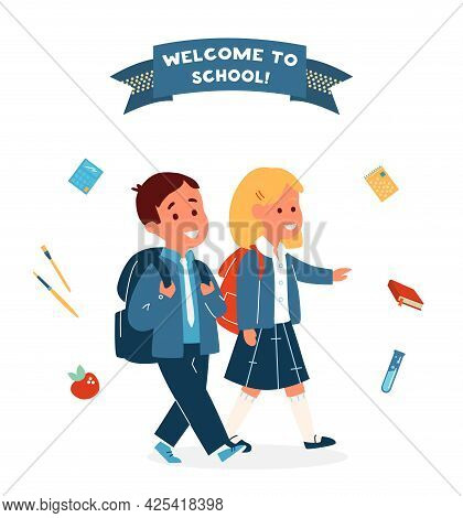 Vector Welcome To School Card With  Smiling Boy And Girl In Uniform With School Bags Surrounded With