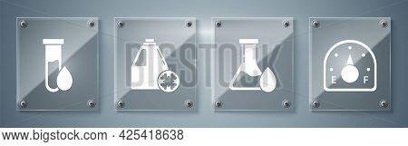 Set Motor Gas Gauge, Oil Petrol Test Tube, Antifreeze Canister And Oil Petrol Test Tube. Square Glas