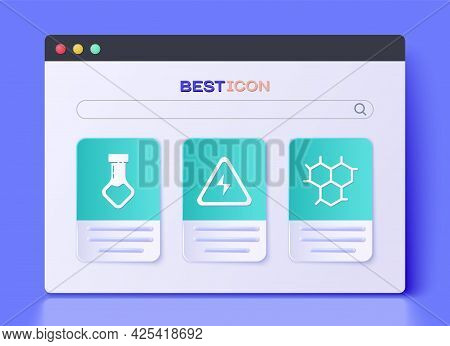 Set High Voltage Sign, Test Tube And Flask Chemical And Chemical Formula Icon. Vector