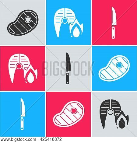 Set Steak Meat, Grilled Fish Steak And Fire Flame And Knife Icon. Vector