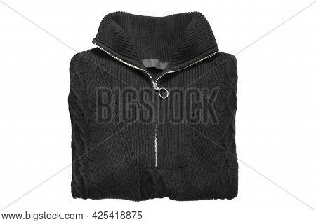 Black Knit Folded Zip Neck Pullover Isolated Over White
