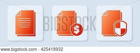 Set Finance Document, Document And Document Protection Concept. White Square Button. Vector