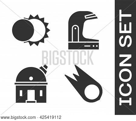 Set Comet Falling Down Fast, Eclipse Of The Sun, Astronomical Observatory And Astronaut Helmet Icon.