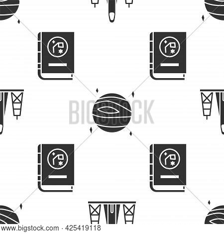 Set Rocket Launch From The Spaceport, Planet Venus And Book By Astronomy On Seamless Pattern. Vector