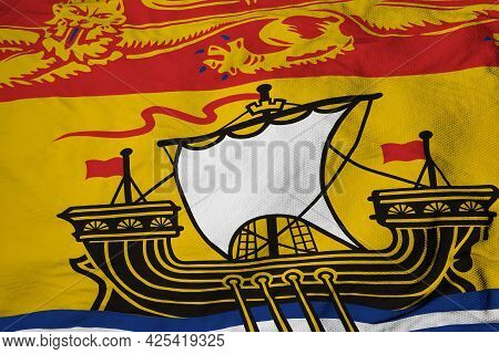 Full Frame Close-up On A Waving Flag Of New Brunswick (canada) In 3d Rendering.