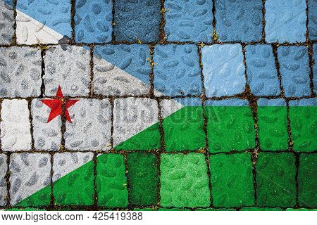 National Flag Of Djibouti On Stone  Wall Background. Flag  Banner On  Stone Texture Background.