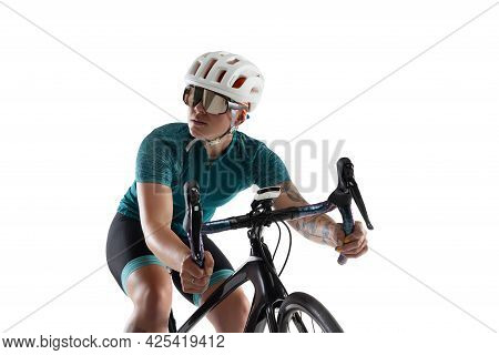 Young Professional Female Bike Rider On Road Bike Isolated Over White Background.