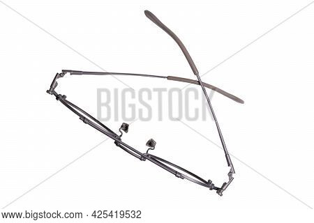 Isolated Eyeglass. Top View Stylish Eyeglasses Optical Round On White Background, Fashion Accessorie