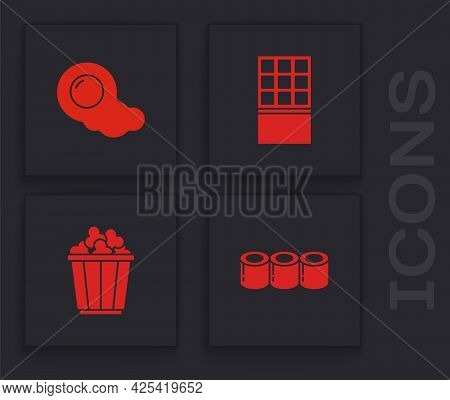 Set Sushi, Scrambled Eggs, Chocolate Bar And Popcorn In Box Icon. Vector