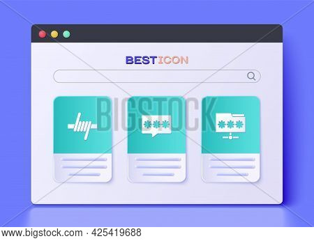 Set Password Protection, Barbed Wire And Folder With Password Icon. Vector