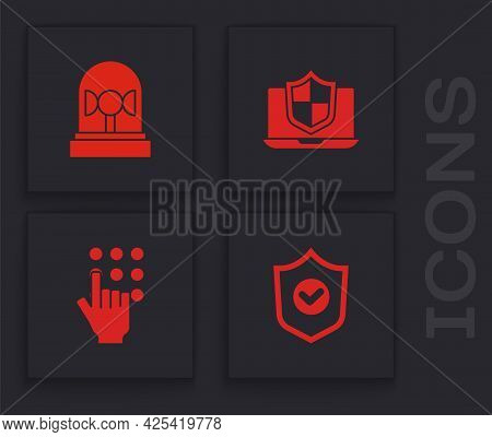 Set Shield With Check Mark, Flasher Siren, Laptop Protected Shield And Password Protection Icon. Vec