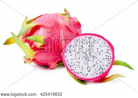 Isolated Dragon Fruit. Top View Dragon Fruit With Sliced Pitaya On White Background. Tropical Fruits