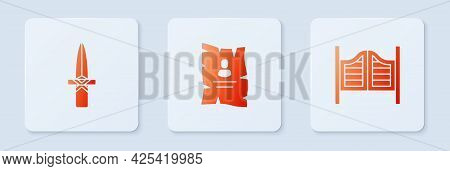Set Wanted Western Poster, Dagger And Saloon Door. White Square Button. Vector